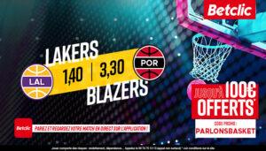 NBA – 4 paris à tenter pour Lakers vs. Blazers, jusqu'à 440€ à gagner !