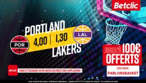 NBA – 4 paris à tenter pour Lakers vs. Blazers, jusqu'à 510€ à gagner !