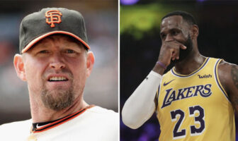 L'ancien joueur MLB des San Francisco Giants Aubrey Huff, et la star NBA des Los Angeles Lakers LeBron James