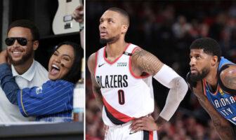 Ayesha Curry enlace la star NBA Stephen Curry dans ses bras ; les superstars Damian Lillard et Paul George lors d'un match entre les Portland Trail Blazers et le Thunder d'Oklahoma City