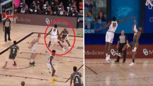 NBA – Malgré 35cm de moins, Chris Paul met la misère à Bol Bol… sur sa tête !