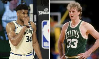 Giannis Antetokounmpo sous les couleurs des Milwaukee Bucks et la légende NBA Larry Bird sous le maillot des Celtics