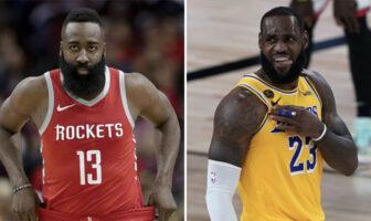 Les superstars NBA James Harden et LeBron James, respectivement sous les couleurs des Houston Rockets et des Los Angeles Lakers
