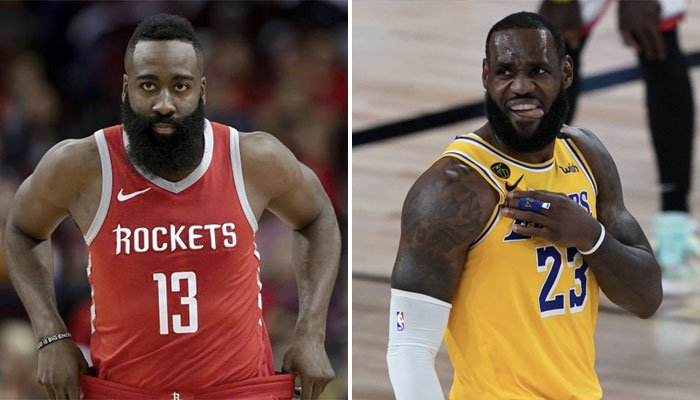 Les superstars NBA James Harden et LeBron James, respectivement sous les couleurs des Houston Rockets et des Los Angeles Lakers