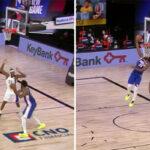 NBA – Joel Embiid enrhume 3 défenseurs pour terminer avec un gros reverse dunk !