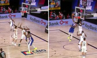 Joel Embiid enrhume 3 défenseurs et termine avec un reverse dunk-NBA