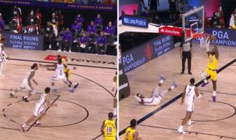 LeBron James envoie un adversaire au sol