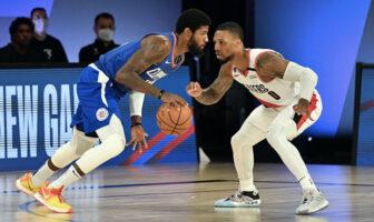 Les deux stars NBA Paul George et Damian Lillard lors du match Los Angeles Clippers - Portland Trail Blazers le 8 août 2020