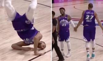 NBA - Gobert fait du breakdance en plein match, Mitchell explosé de rire !