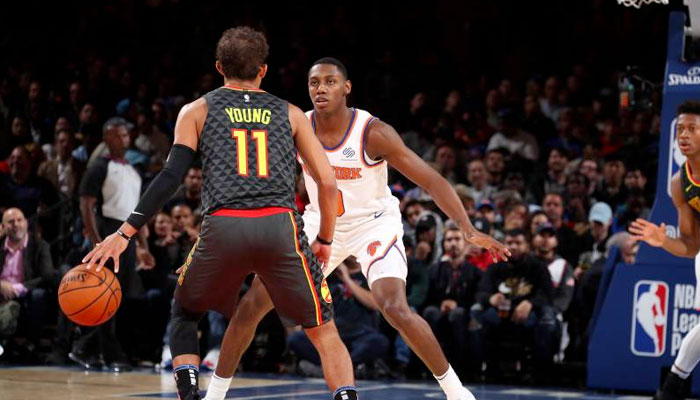 Trae Young au duel avec Rj Barrett NBA