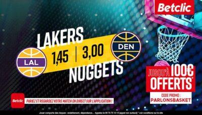 NBA – 3 paris à tenter pour Nuggets vs. Lakers, jusqu'à 410€ à gagner !