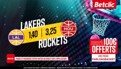 NBA – 3 paris à tenter pour Rockets vs. Lakers, jusqu'à 250€ à gagner !
