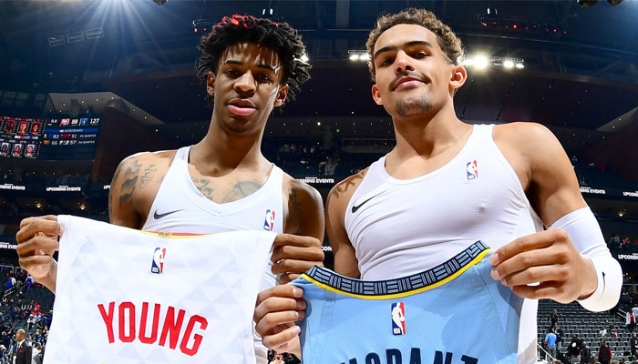 Ja Morant et Trae Young échangent leurs maillots NBA