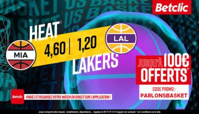 NBA – 3 paris à tenter pour Heat vs. Lakers, jusqu'à 460€ à gagner !