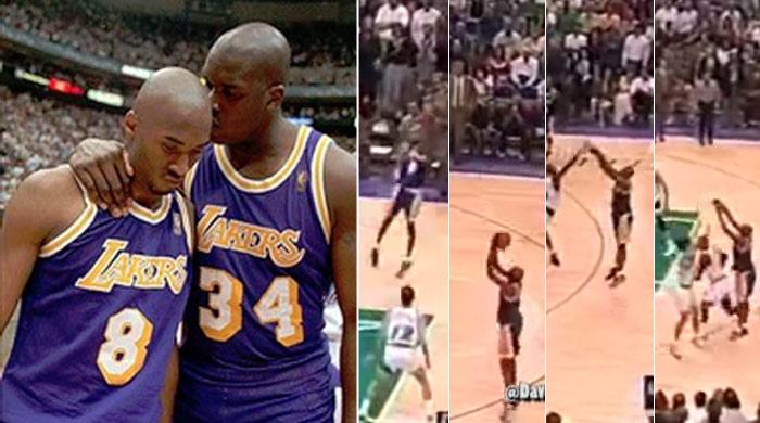 Shaq réconforte Kobe après ses célèbres airballs face au Jazz
