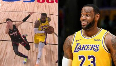 NBA – LeBron James envoie valser Tyler Herro au sol avec son dunk !