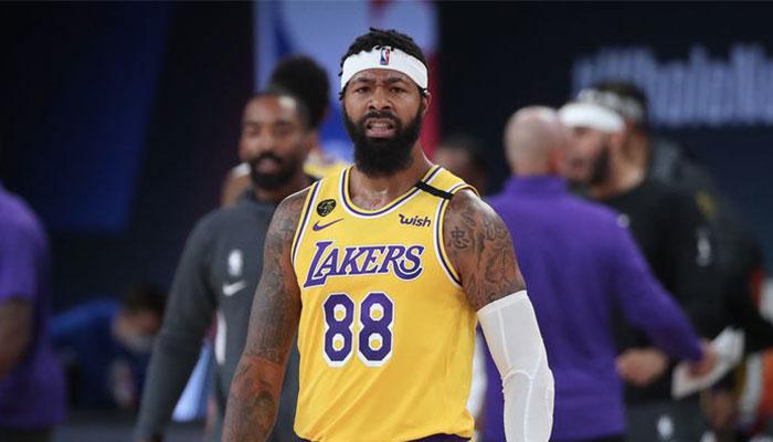 Le joueur NBA des Los Angeles Lakers Markieff Morris agacé