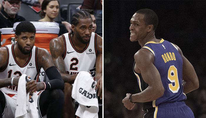 Les deux superstars NBA des Los Angeles Clippers, Paul George et Kawhi Leonard, dépités sur le banc, ainsi que le meneur vétéran des Los Angeles Lakers, Rajon Rondo, tout sourire