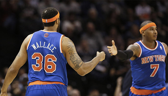 Les superstars NBA Rasheed Wallace et Carmelo Anthony sous les couleurs des New York Knicks