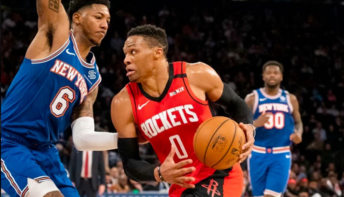 Russell Westbrook au duel contre Elfrid Payton NBA