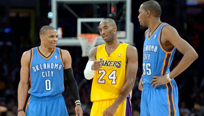 Kobe Bryant aux côtés de Russell Westbrook et Kevin Durant NBA