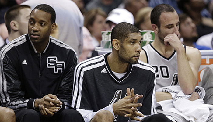Les Hall of Famers NBA Tracy McGrady et Tim Duncan sous les couleurs des San Antonio Spurs