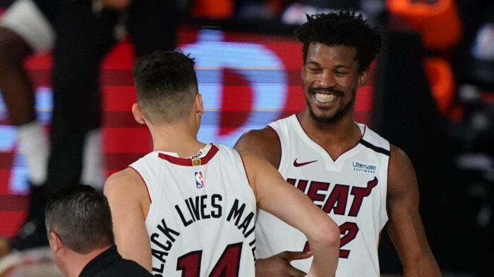 Tyler Herro et Jimmy Butler du Miami Heat