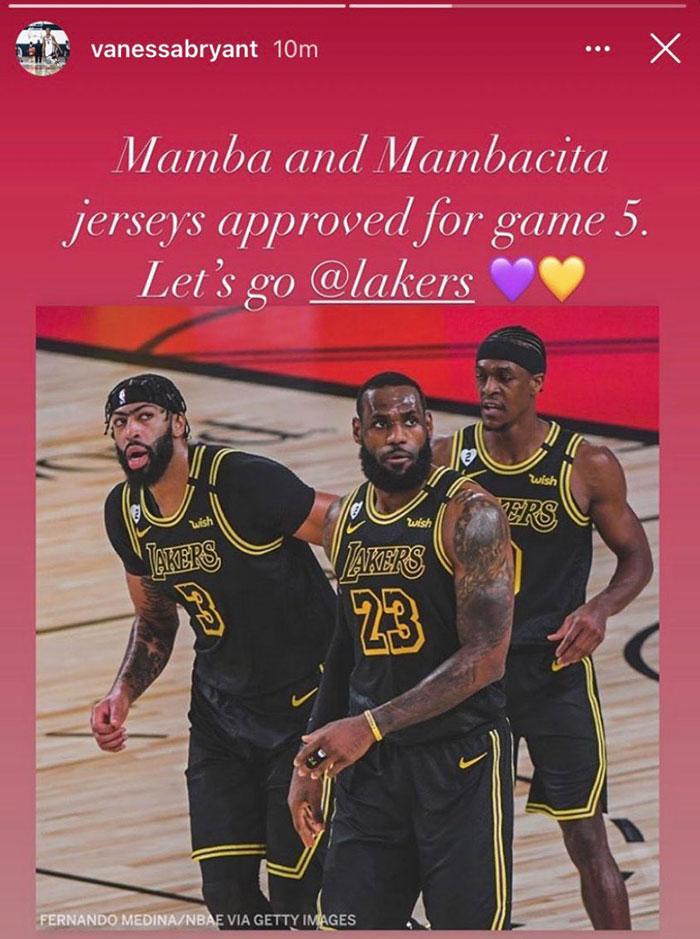 Le message de Vanessa Bryant à l'équipe des Lakers pour le Game 5
