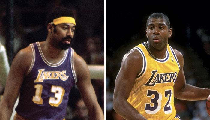 Les deux légendes NBA Wilt Chamberlain et Magic Johnson sous le maillot des Los Angeles Lakers