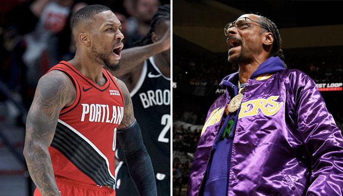 La superstar NBA des Portland Trail Blazers, Damian Lillard (gauche), hurle à la manière du célèbre rappeur américain, fan des Los Angeles Lakers, Snoop Dogg (droite