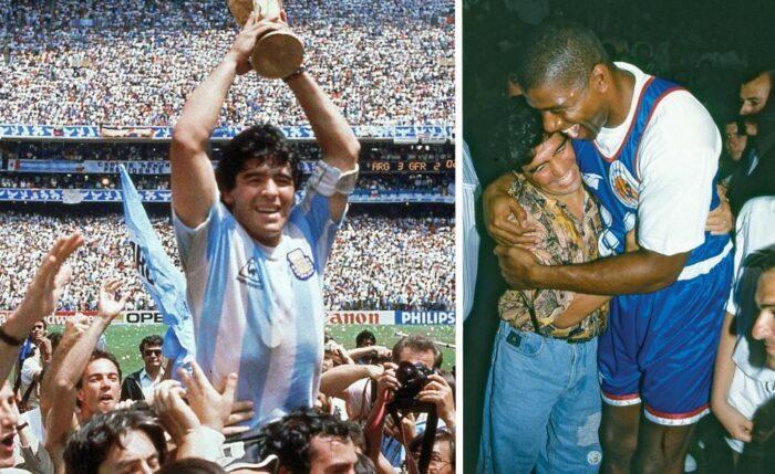 Diego Maradona et Magic Johnson