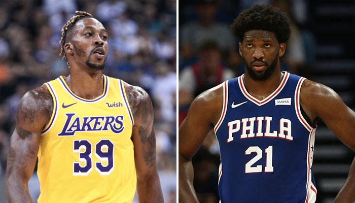 Le nouveau pivot des Philadelphia 76ers, Dwight Howard, sous les couleurs des Los Angeles Lakers, aux côtés de son nouveau coéquipier, la star NBA Joel Embiid