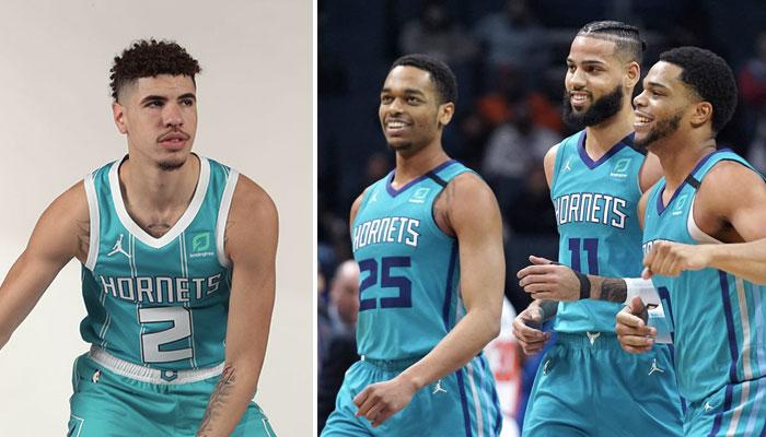Le futur rookie des Charlotte Hornets, LaMelo Ball, moqué par l'un de ses nouveaux coéquipiers à Charlotte, ici représenté par P.J. Washington, Cody Martin et Miles Bridges