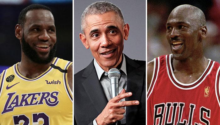 Les deux légendes NBA postulant au statut de GOAT, LeBron James (gauche) et Michael Jordan (droite), entourent l'ancien président des États-Unis, Barack Obama