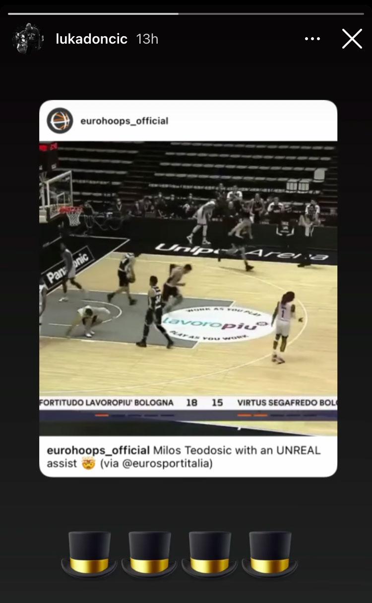 NBA Luka Doncic réagit à la passe de Milos Teodosic
