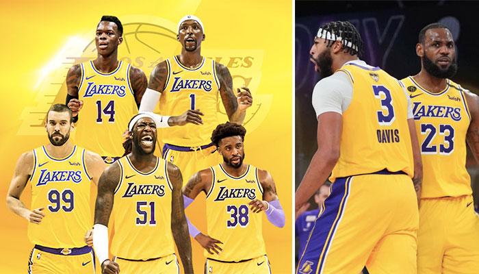 Les nouvelles signatures des Los Angeles Lakers, Marc Gasol, Dennis Schröder, Montrezl Harrell, Kentavious Caldell-Pope et Wes Matthews (gauche), accompagnés des deux leaders et stars de la franchise, Anthony Davis et LeBron James (droite)