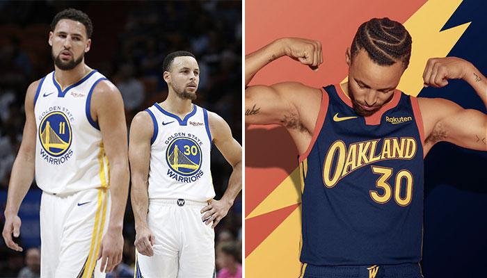 Les deux superstars NBA des Golden State Warriors, Klay Thompson et Stephen Curry, consternés devant l'accueil réservé au nouveau maillot de la franchise, rendant hommage à Oakland, par certains fans