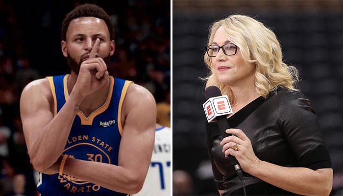 La superstar NBA des Golden State Warriors, Stephen Curry, dans le jeu vidéo NBA 2K21 (gauche), ainsi que la journaliste américaine d'ESPN, Doris Burke (droite)
