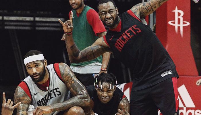 NBA John Wall, DeMarcus Cousins et Danuel House lors d'un entrainement avec les Rockets