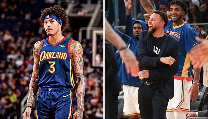 La nouvelle recrue des Golden State Warriors, Kelly Oubre Jr., dans le nouveau maillot de la franchise (gauche), accompagné de ses nouveaux coéquipiers, Stephen Curry et Marquese Chriss (droite)