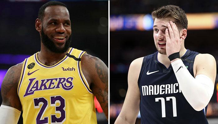LeBron James sort un gros fadeaway à la Kobe Bryant... sur la tête de Luka Doncic !