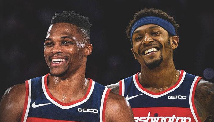 Les deux superstars des Washington Wizards, Russell Westbrook et Bradley Beal, tout sourire
