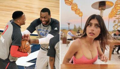 Les deux meneurs superstar NBA Russell Westbrook et John Wall, ici lors du All-Star Game 2017, ont fait l'objet d'un transfert ce mercredi 2 décembre, entrainant la surprise et le changement de camp de la célèbre actrice pornographique Mia Khalifa