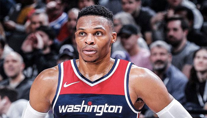 La superstar NBA Russell Westbrook, sacré MVP en 2017, sous ses nouvelles couleurs des Washington Wizards