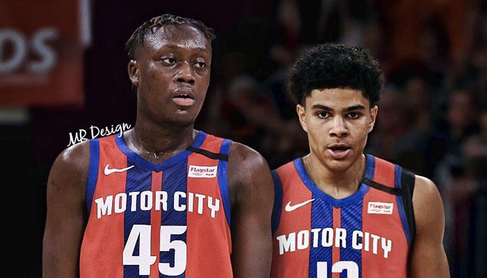 Les jeunes espoirs français Sekou Doumbouya et Killian Hayes sous le maillot de la franchise NBA des Detroit Pistons
