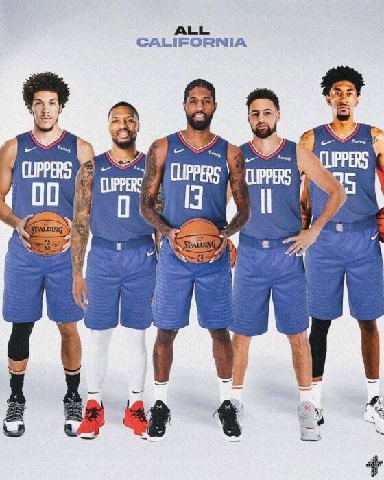 Aaron Gordon, Damian Lillard, Paul George, Klay Thompson et Christian Wood composent l'équipe des All-California Clippers