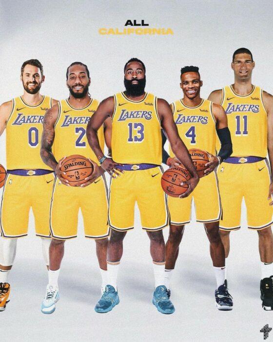 Kevin Love, Kawhi Leonard, James Harden, Russell Westbrook et Brook Lopez forment l'équipe des All-California Lakers