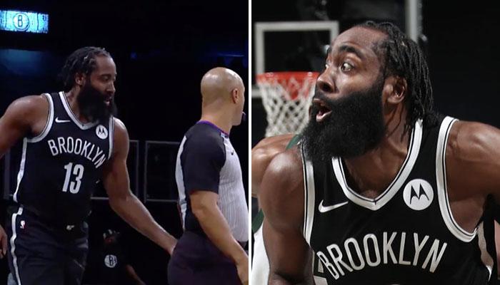 La superstar NBA des Brooklyn Nets, James Harden, tape le postérieur d'un arbitre lors d'une rencontre face aux Milwaukee Bucks