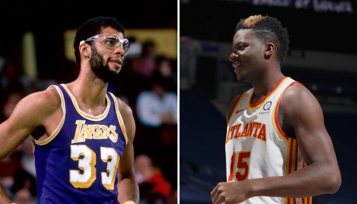 Le pivot des Atlanta Hawks, Clint Capela (droite), a réalisé une performance jamais vue depuis 1975, et réalisée à l'époque par la légende NBA des Los Angeles Lakers, Kareem Abdul-Jabbar