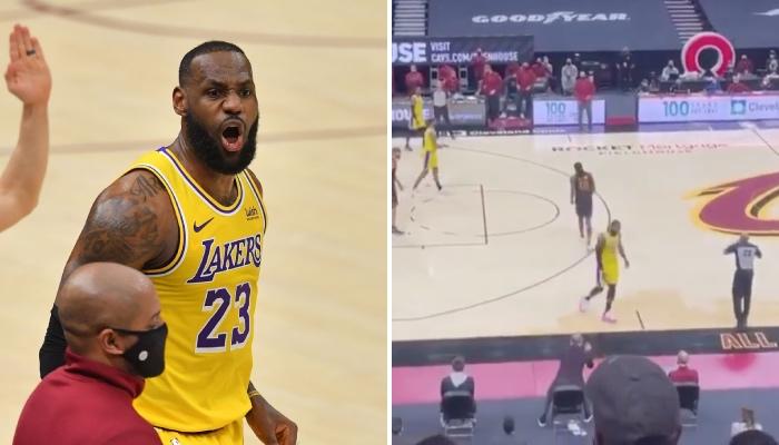 La superstar NBA des Los Angeles Lakers, LeBron James, s'agace suite à la réaction d'un membre du public lors d'un match face aux Cleveland Cavaliers